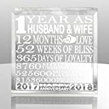 Kate Posh - 1 Year as Husband and Wife - Our First Anniversary Gift Paperweight and Keepsake - Includes 2017 (Marriage Year) and 2018 (1st Anniversary Year) - 1st Anniversary Gifts for Couples