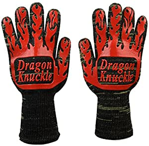 Dragon Knuckle Heat Resistant BBQ Gloves by Oven Mitts EN 407 932ºF - Grilling Barbecue Charcoal Grill Tools Kevlar Nomex Cut Resistant - Great Gift