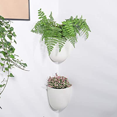 Buy Sungmor Corner Planter Wall Mounted Plant Pots Self Watering Vertical Hanging Planters 4pc White Pack Right Angle Flower Pots Plant Containers Great Home Office Kitchen Wall Corner