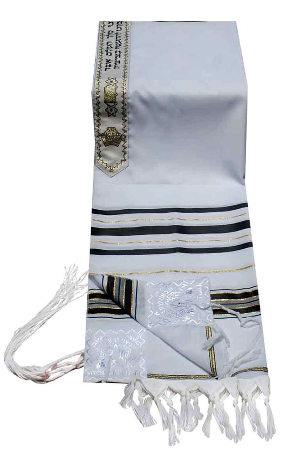 Talitnia Acrylic Tallit (Imitation Wool) Prayer Shawl Black and Gold Stripes in Size 47'' Long and 68'' Wide