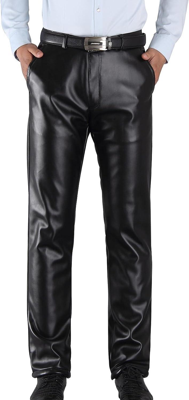 AIEOE - Pantalones de Piel para Hombre Invierno Evitar el Viento Hombre Ocio Pantalón Largos con Forro Suave Caliente Espesado Resiatente al Agua Color Negro