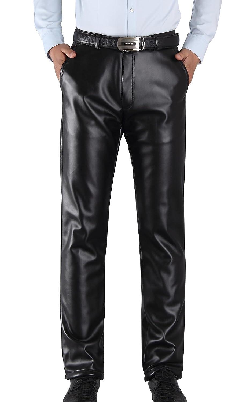 TALLA Talla EU 44 / Cintura:94cm. Duolunjindun - Pantalones de Piel para Hombre Invierno Evitar el Viento Hombre Ocio Pantalón Largos con Forro Suave Caliente Espesado Resiatente al Agua Color Negro