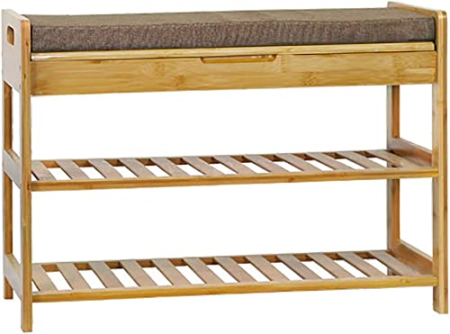 C AHOME 3-Tier Shoe Rack Bench, Entryway Shoe Organizer, Bamboo Storage Shelf Holds up to 260LBS, 27.6 L x 11.6 W x 19.3 H, Modern Stool with Cushion for Hallway Bathroom Living Room Natural Color