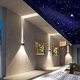 LED Aluminum Waterproof Wall Lamp ,12W 85-225V 3200K Adjustable Outdoor Wall Light Warm Light 2 LEDS (Black)