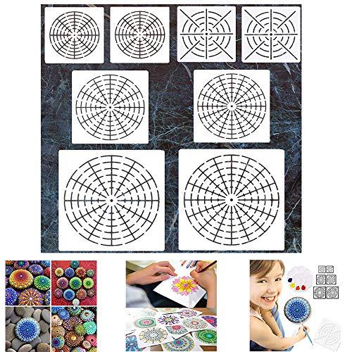 Peedeu Mandala Dotting Stencils Mandala Dot Painting Templates Painting Stencils for Painting On Wood, Airbrush and Walls Art, 6 Pack