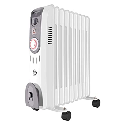 61127e49603 fam famgizmo Oil Filled Radiator Portable Electric Heater with Thermostat  and Timer 2000w 9 Fins White
