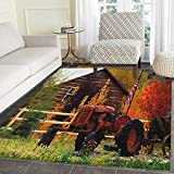 Fall Print Area Rug Rustic Cabin with Rusty Tractor Country Cottage House Seasonal Colors US Flag Loyalty Indoor/Outdoor Area Rug 5'x6′ Multicolor For Sale