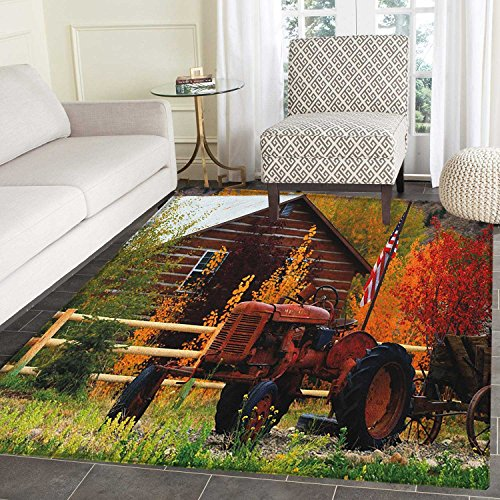 Fall Rug Kid Carpet Rustic Cabin with Rusty Tractor Country