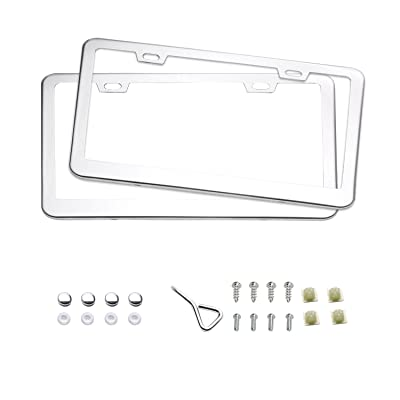 moveland 2020 2 Holes Stainless Steel License Plate Frames for US Standard (Sliver   2PCS): Automotive
