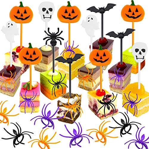 Boao 170 Pieces Spider Ring Cupcake Toppers and Halloween Appetizer Picks for Halloween Party Supplies Halloween Party Cupcake Decorations Halloween Food