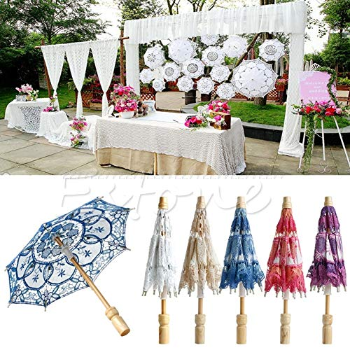 Cotton Umbrella - Arrival Embroidered Lace Parasol Umbrella Party Decoration Jul24 - Party Decorations Party Decorations Bride Umbrella Bridal Women Flare Swing Dress Lace Wedding Curtain C