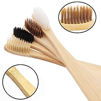 Cepillo de dientes de bambú de carbón infusionado 100% orgánico y biodegradable de madera suave