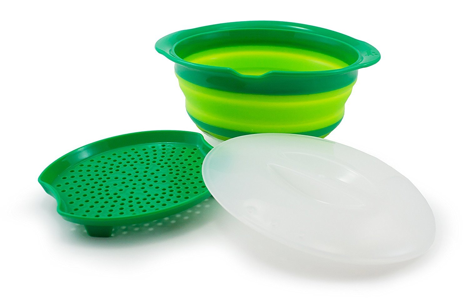 Squish Collapsible Microwave Steamer, Green