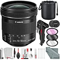 Canon EF-S 10-18mm f/4.5-5.6 IS STM Lens Bundle with Lens Case + Filters + Xpix 2-in-1 Tripod + Xpix Deluxe Lens Cleaning Kit