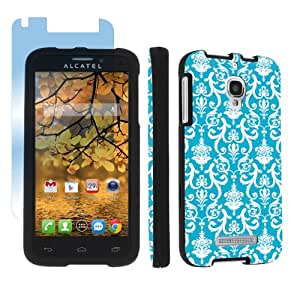 Alcatel One Touch Fierce 7024W Black Full Protection Designer Case + Screen Protector By SkinGuardz - Turquoise Retro