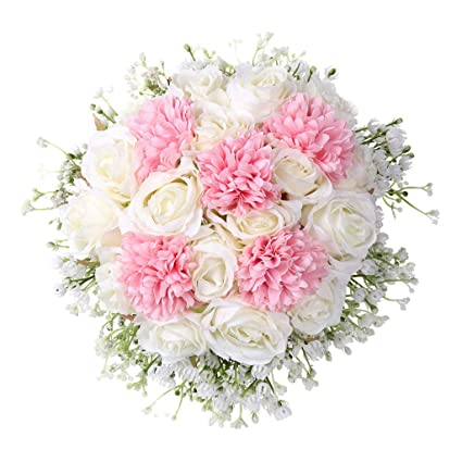 Wogo Artificial Rose Wedding Flower Bouquet Silk Bridal Bouquet