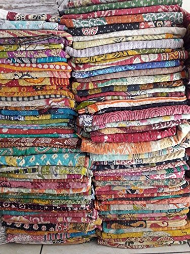 Wholesale Lot Indian Tribal Kantha Quilt Vintage Handmade Blanket Patch Kantha Throw Hippie Bohemian Old Saree Made Kantha Rally Twin By Marudhara Fashion