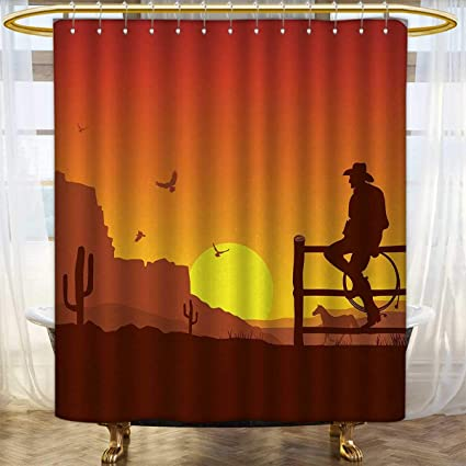 Western Shower Curtains Sets Bathroom Silhouette Of Cowboy In Wild West Sunset Scene American Culture Image