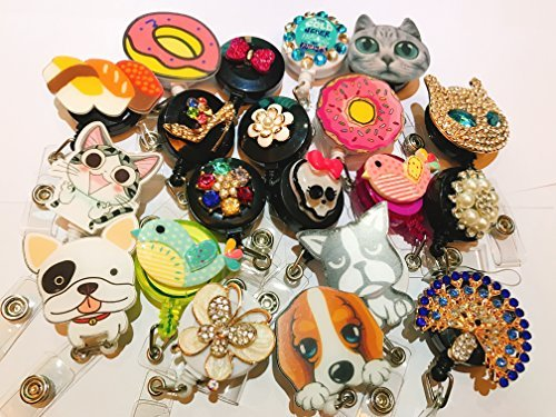 Assorted 5pcs Set of Decorated Retractable Badge Reel Holder for Office Identity Card - Bling Rhinestone PVC - Cartoon Pattern Animal
