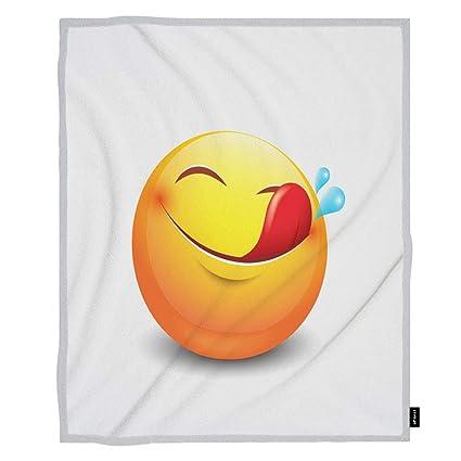 Amazoncom Ofloral Emoji Throw Blanket Cute Hungry Emoticon Smiley