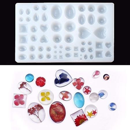 Jeteven® 58 Stücke Schmuck Gießform Silikonform Resin Mold Harz Form für Schmuckherstellung Anhänger Halskette Ohrringe Dekor