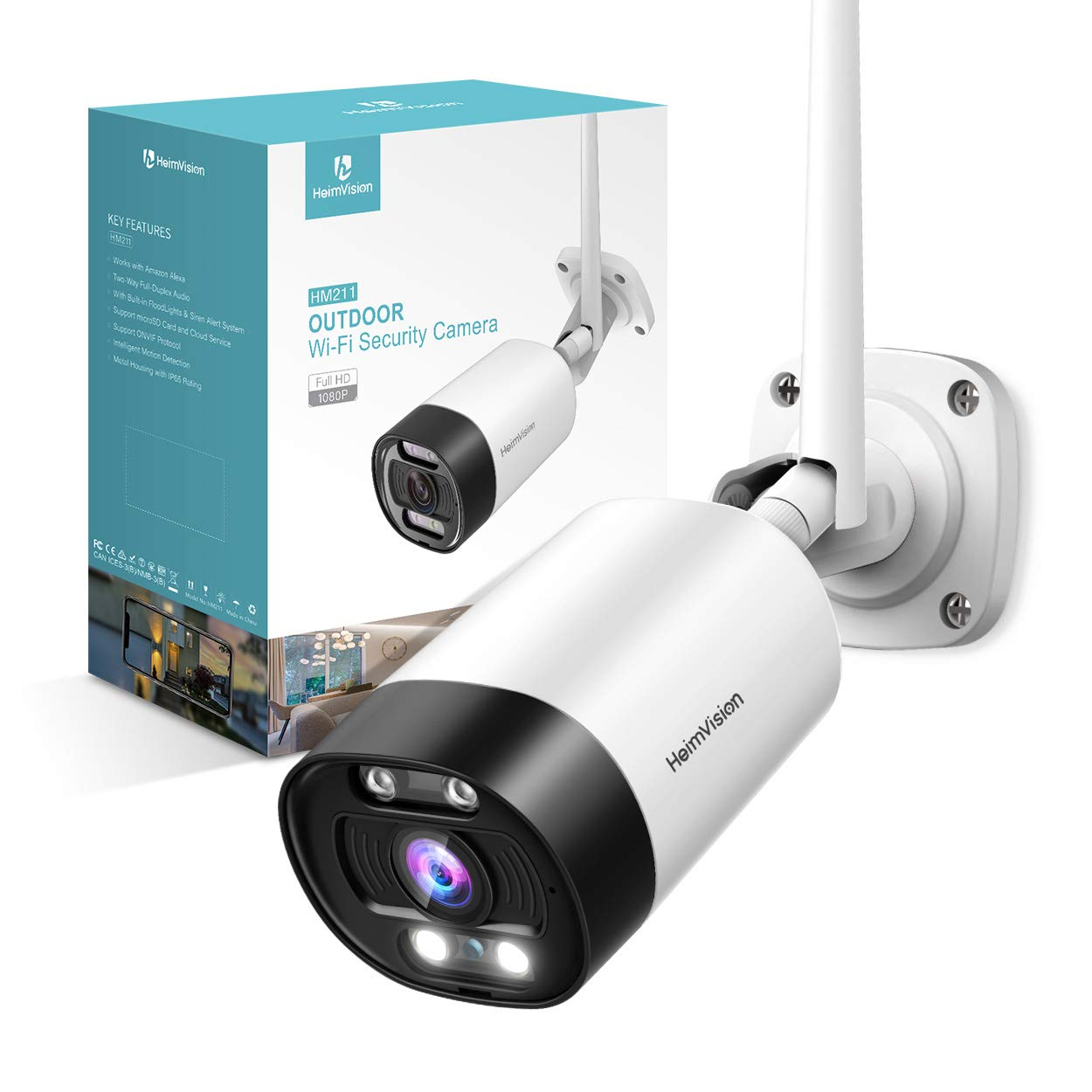 HeimVision HM211 Outdoor Security Camera Wireless, 1080P WiFi Surveillance Camera with Night Vision, Floodlight, Siren Alarm, Two-Way Audio, Motion Detection, Waterproof, Cloud Service/Microsd Support