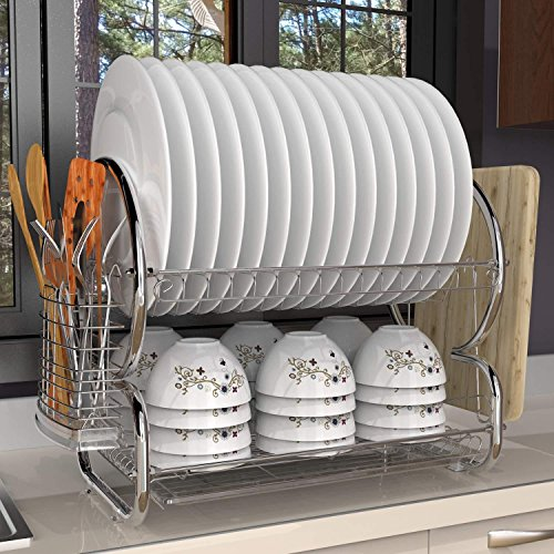 Kitchen Two Tier Stainless Steel Dish Drainer Drying Rack wi