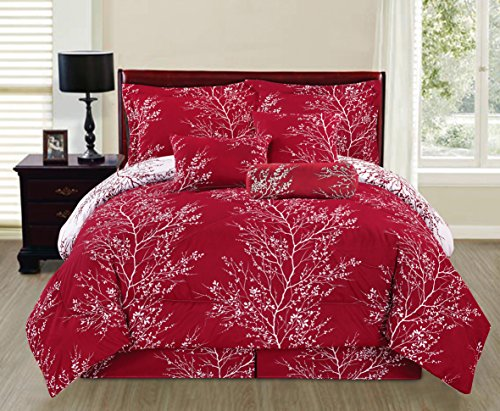 SALLY TEXTILES Camilla Comforter Set, Queen, Burgundy