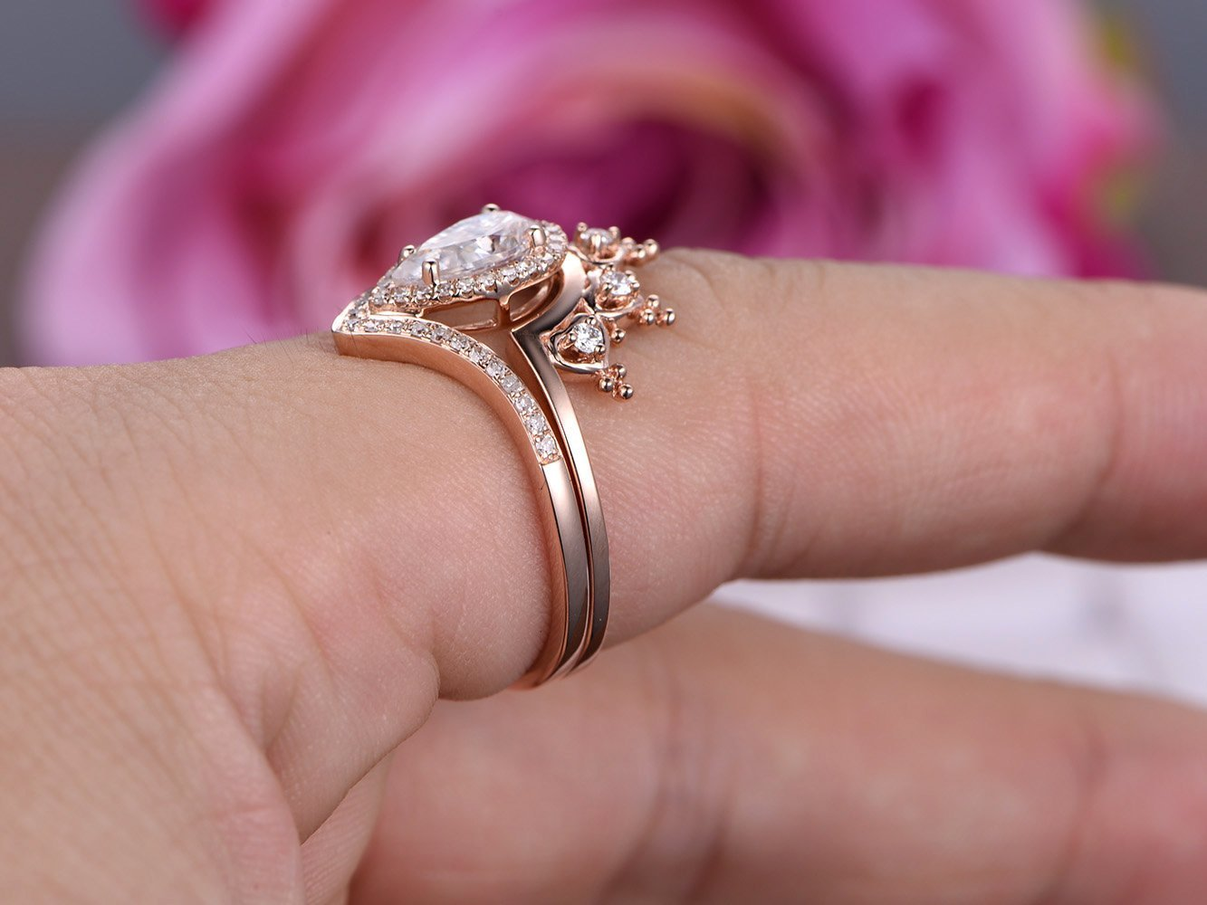 Amazon.com: Pear Moissanite Engagement Ring Set Pave Diamond Wedding ...