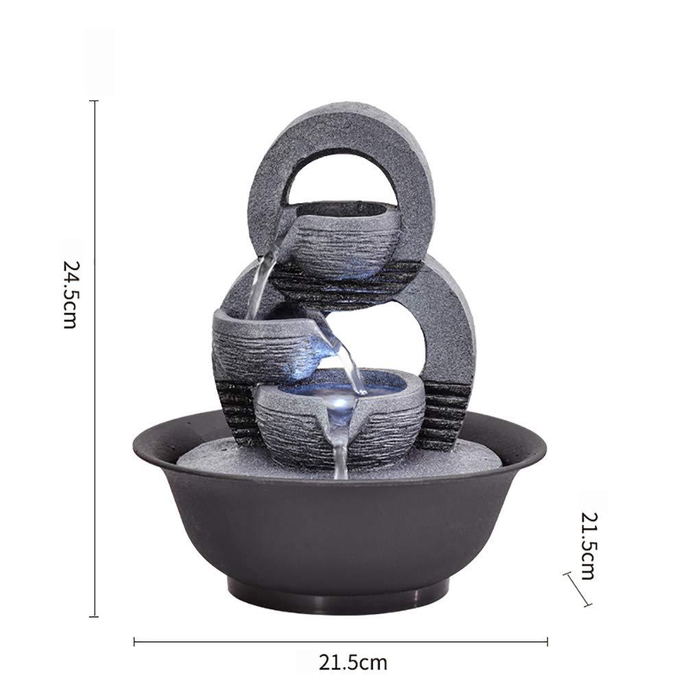 21.5 * 21.5 * 24.5cm Fonction deau /à lint/érieur avec lumi/ères LED Sons apaisants D/écoration de Salle int/érieure ou ext/érieure KEOA Fontaine dInt/érieur 3 Niveaux