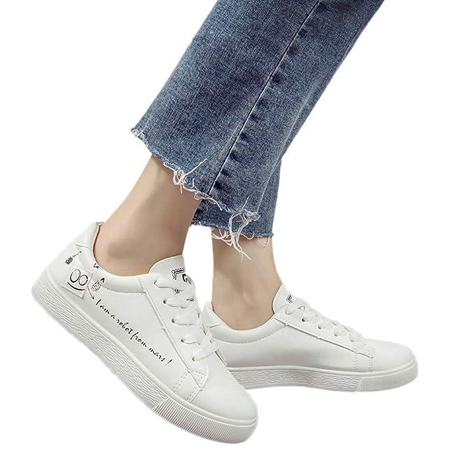 Memefood Zapatillas Deportivas Mujer De Cordones Planas De Cuero Artificial Casuales Zapato Deporte Con Plataforma Sneaker Aire Libre Fitness Correr Calzado ...