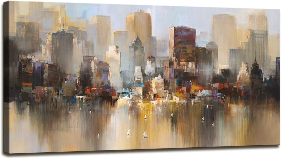 A74350 Canvas Wall Art Prints Modern Abstract Cityscape Wall Painting Canvas Picture Stretched On Wooden Framef for Bedroom Home Office Living Room Decor