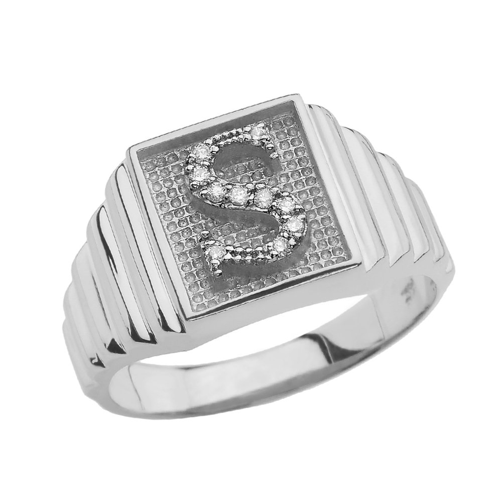 Personalized Mens 10k White Gold Layered Band Square Face Diamond Initial LetterA-Z Ring