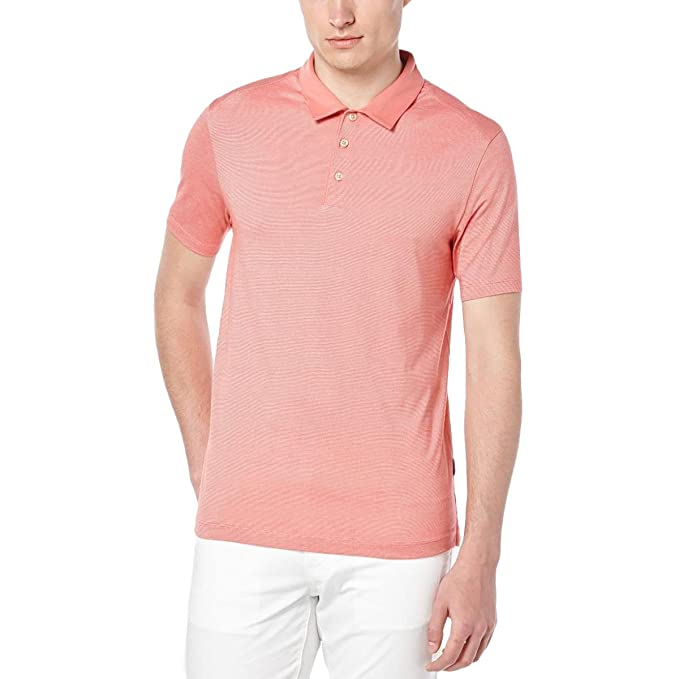 c3888ad1 Perry Ellis Mens Thin Stripe Travel Luxe Rugby Polo Shirt Red M at ...