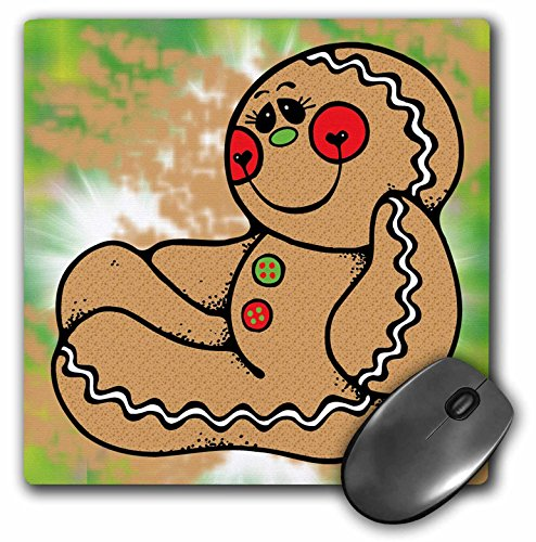 3dRose Blonde Designs Cute Cuddly Country Designs - Cute Country Sideways Sitting Gingerbread Person - Mousepad -