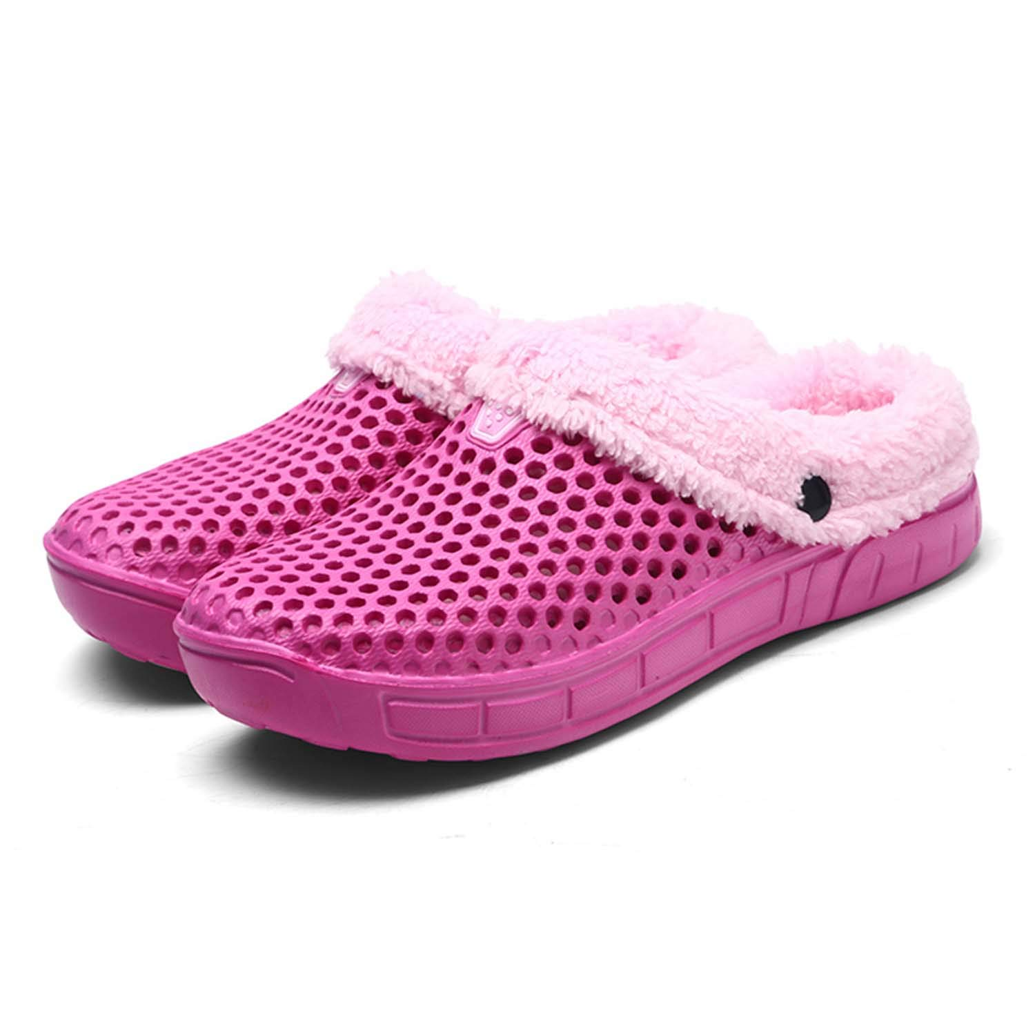 HMAIBO Women's Fur Lined Clogs House Slippers Winter Breathable Indoor Outdoor Walking Garden Shoes Warm Non-Slip Mule Footwear Rose red 38