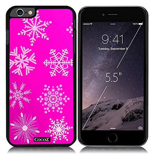 Price comparison product image New Apple iPhone 6 s Plus 5.5-inch CocoZ® Case Beautiful Christmas Snow PC Material Case (Rose Pink&Black PC Snowflake 15)