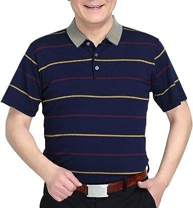 Camisa De Polo para Hombre Verano Casual Transpirable Slim Fit Camisetas De Punto Manga Corta Raya Lisa tee Tops Caballero: Amazon.es: Ropa y accesorios