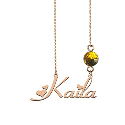 Customized Name Necklaces 925 Sterling Silver Chain Necklace with Birthstone