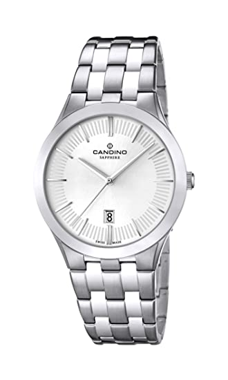 Candino C4539/1 - Reloj analógico de cuarzo para hombre, correa de acero inoxidable color plateado: Amazon.es: Relojes