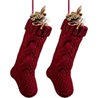 goege bailey unique burgundy and ivory white knit christmas stockings 14 pack of - Best Christmas Stockings