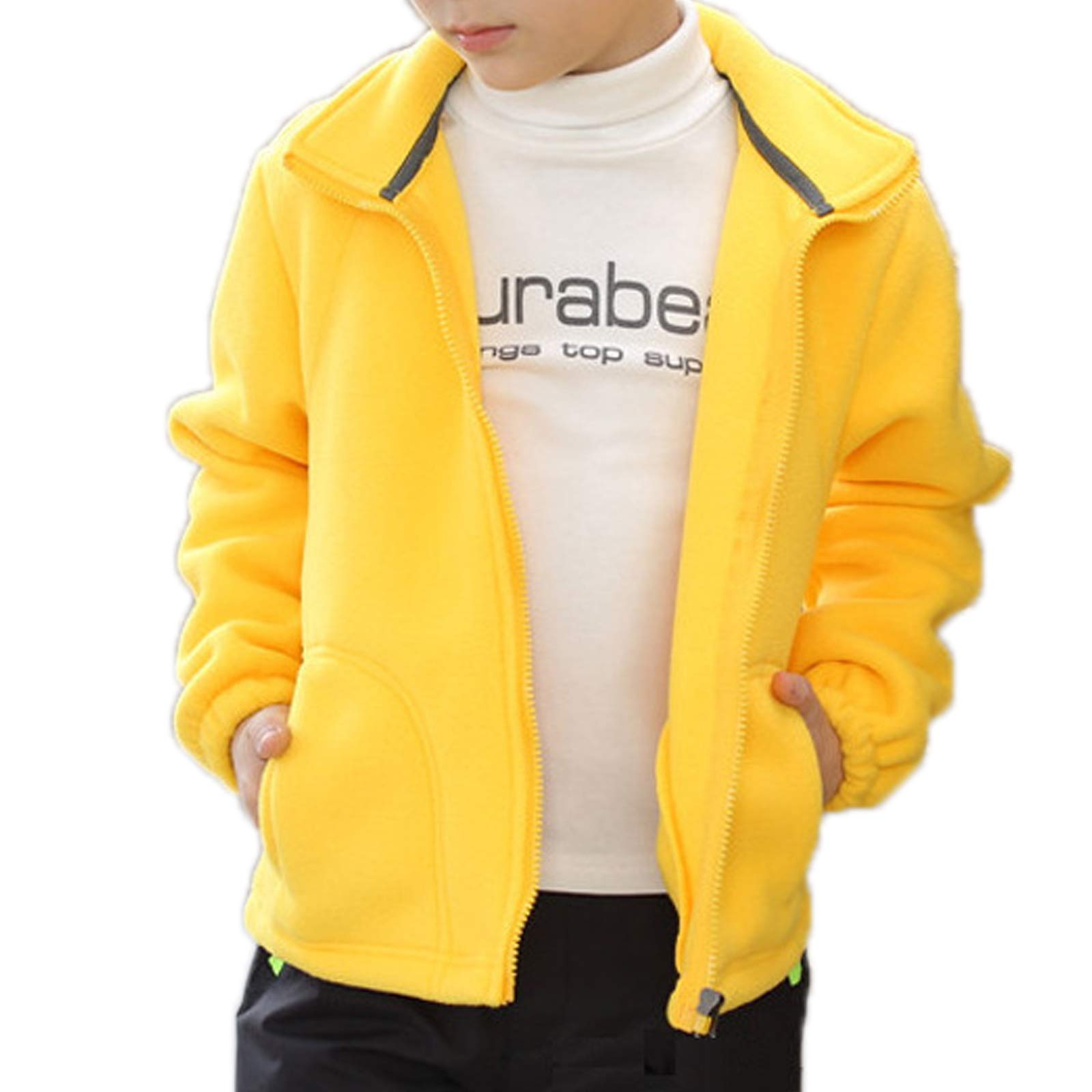 ZumZup Kids Fleece Jacket Full Zip Stand Collar Boys Sportwear Top Outwear Yellow3 Bust 31.8''(Asie XXXS) by ZumZup
