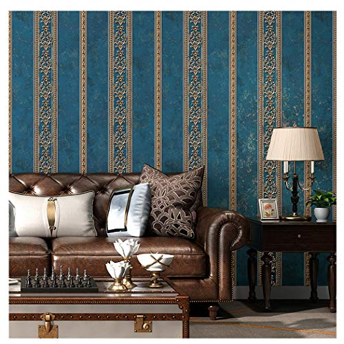 Blooming Wall Textured Vintage Damasks Floral Pattern Wallpaper Wallcoverings for Walls, 57 Square ft/Roll (Blue(Stripes))
