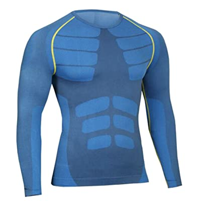 Wofupowga Mens Running Long Sleeve Quick Dry Moisture Wicking T-Shirt Tops