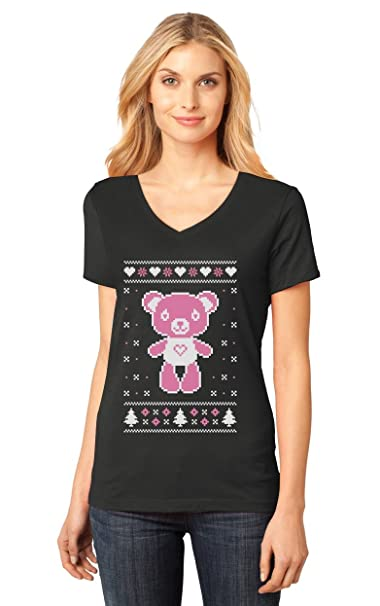 5b70fab9bb Big Pink Furry Bear Doll Ugly Christmas Sweater Funny Women's Fitted V-Neck  T-