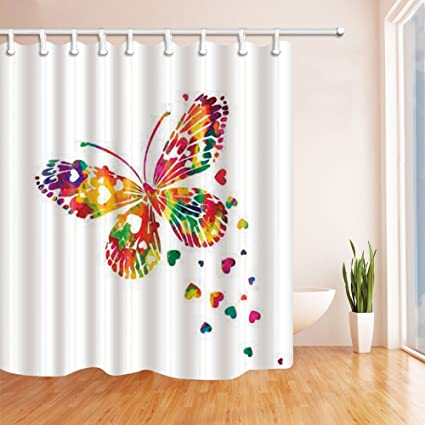 HiSoho Colorful Butterfly Shower Curtain Mildew Resistant Waterproof Polyester Fabric Bathroom Decorations Bath Curtains