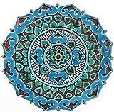 Outdoor wall art turquoise tile 11'' Garden decor tile art with cutout edges, ceramic art MANDALITA/R DECO