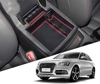 rojo caja de almacenamiento para accesorios de coche Q3 2012-2018 Muchkey Caja de almacenamiento para reposabrazos interior de coche guantera