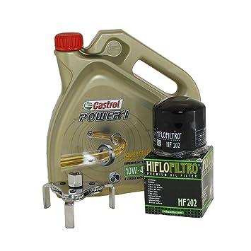 Cambio de aceite Set 4 litros Castrol SAE 10 W de 40 Power 1 4t Incluye Filtro de aceite HiFlo hf202 y aceite: Amazon.es: Coche y moto