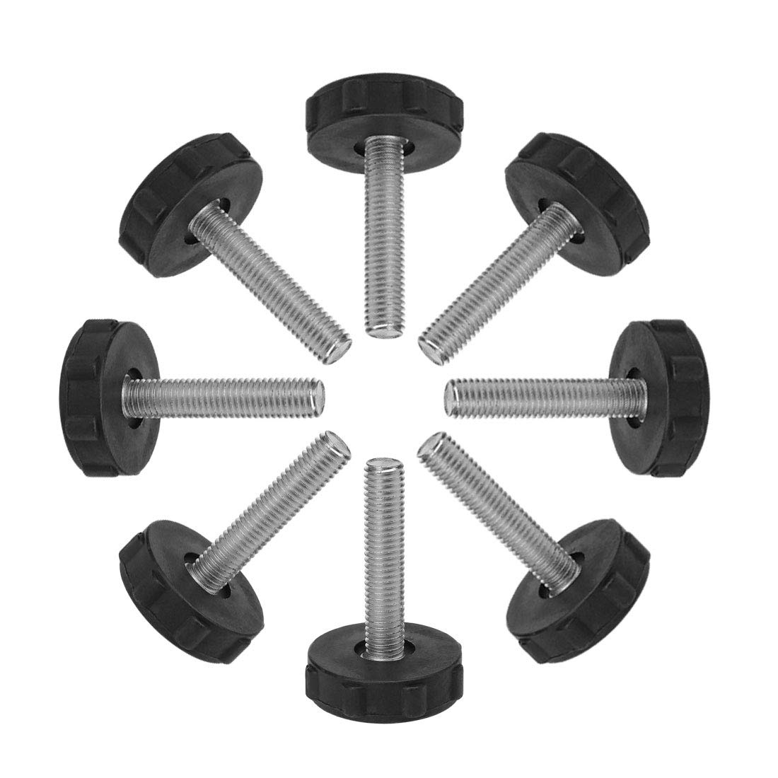 uxcell M10 x 50 x 40mm Screw on Furniture Glide Leveling Feet Adjustable Leveler Pad for Chair Industrial Machine Desk Leg 8 Pack
